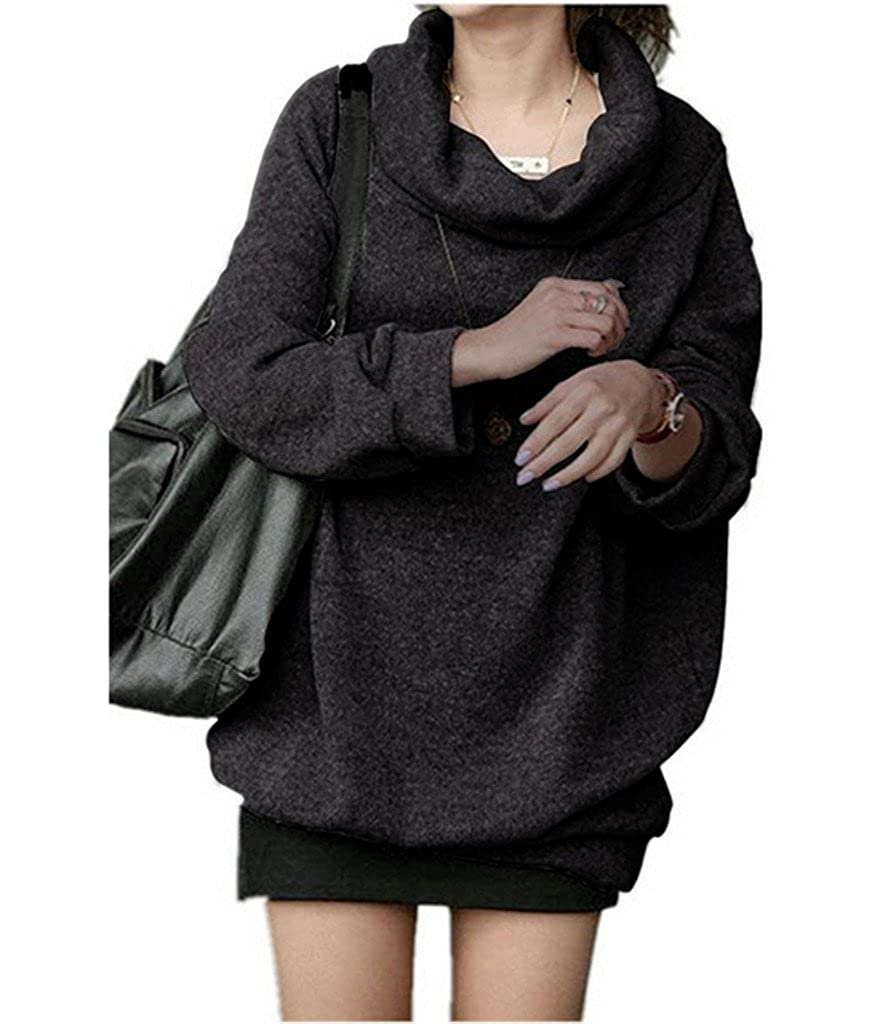 YangguTown YGT Women Cowl Neck Loosee Pullover Casual Outerwear Plus Size Hoodie Sweater