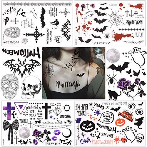 Halloween Eyeshadow Tattoos (Waterproof Temporary Tattoo Sticker Halloween Masquerade Prank Makeup Props Over 60 halloween themed patterns designs on 4)