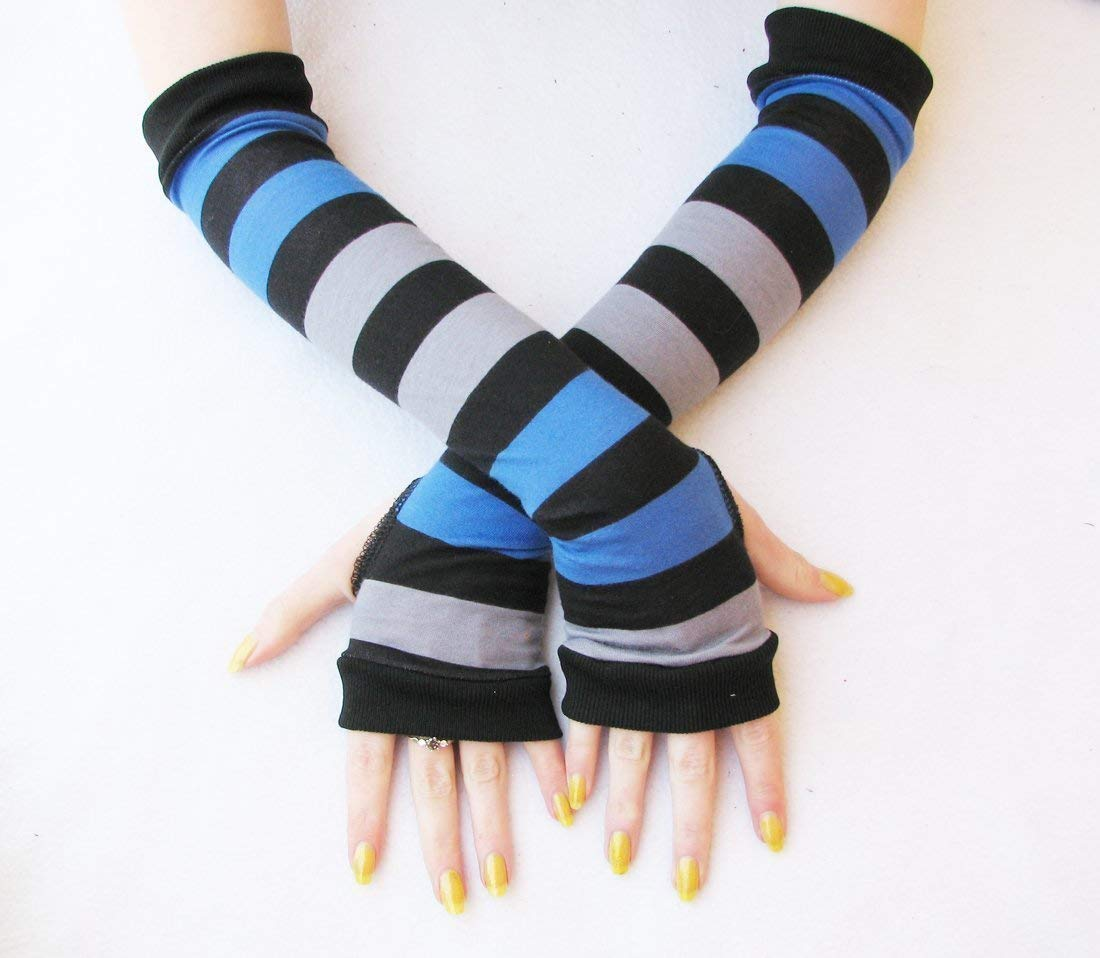 3 Pairs Striped Arm Warmers Fingerless Gloves for Women A, One Size