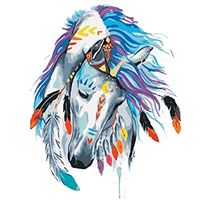 JOLOMOY DIY Paint by Numbers Kits for Adults, DIY Oil Painting by Number for Kids Beginner - Colorful Flowers Animal Series 16X20 inch Christmas Home Decor (Horse #2, Frameless)