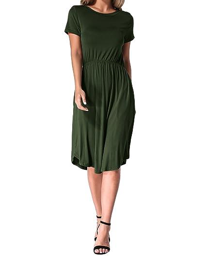 6cb455de59be Kidsform Women T-Shirt Dress Short Sleeve Empire Waist Casual Summer Beach  Mini Tunic Dresses