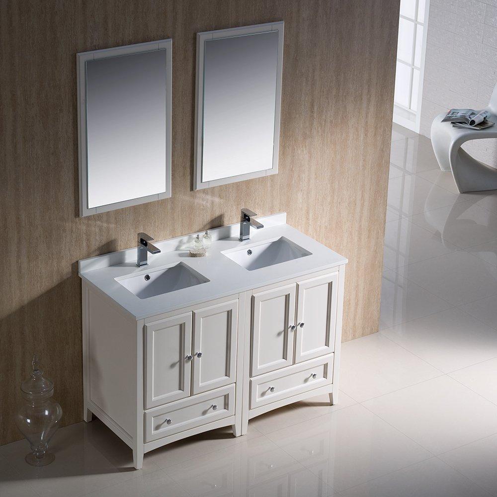 Double Vanity 48 Inches. Fresca Bath FVN20 2424AW Oxford Double Vanity Sink  48 Antique White Amazon com