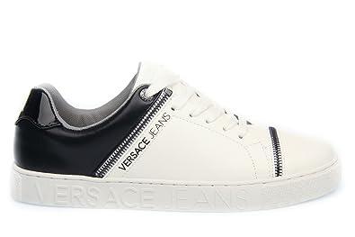 Versace Jeans Baskets Pour Homme - Blanc - Blanc Noir, 44 EU  Amazon ... 5fea75bee43