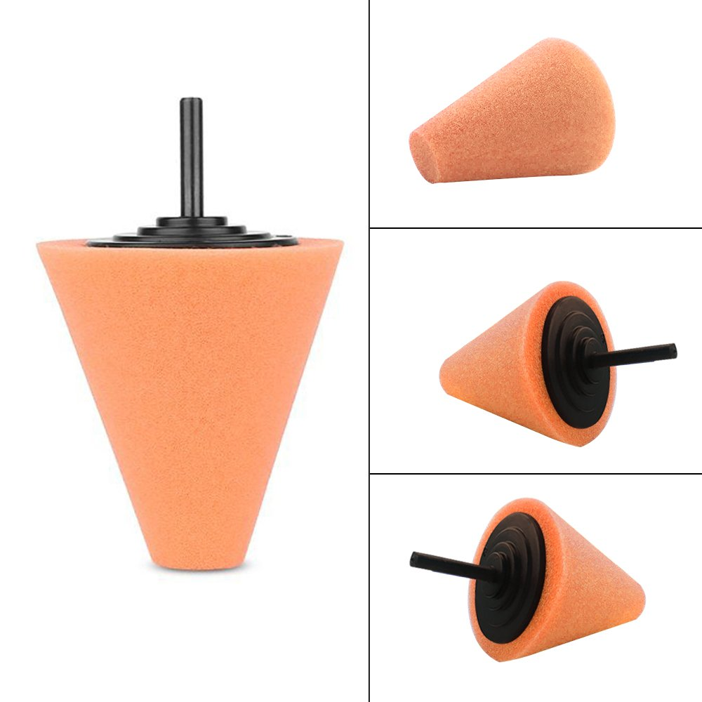 Lenmumu Drill Buffing Sponge Pads Kit 3 Pack, 1/4''/6mm Metal Polishing Tool Cone Foam Pad Polisher Buffer Sponge Ball for Automotive Car Wheels Hub Care by Lenmumu (Image #2)