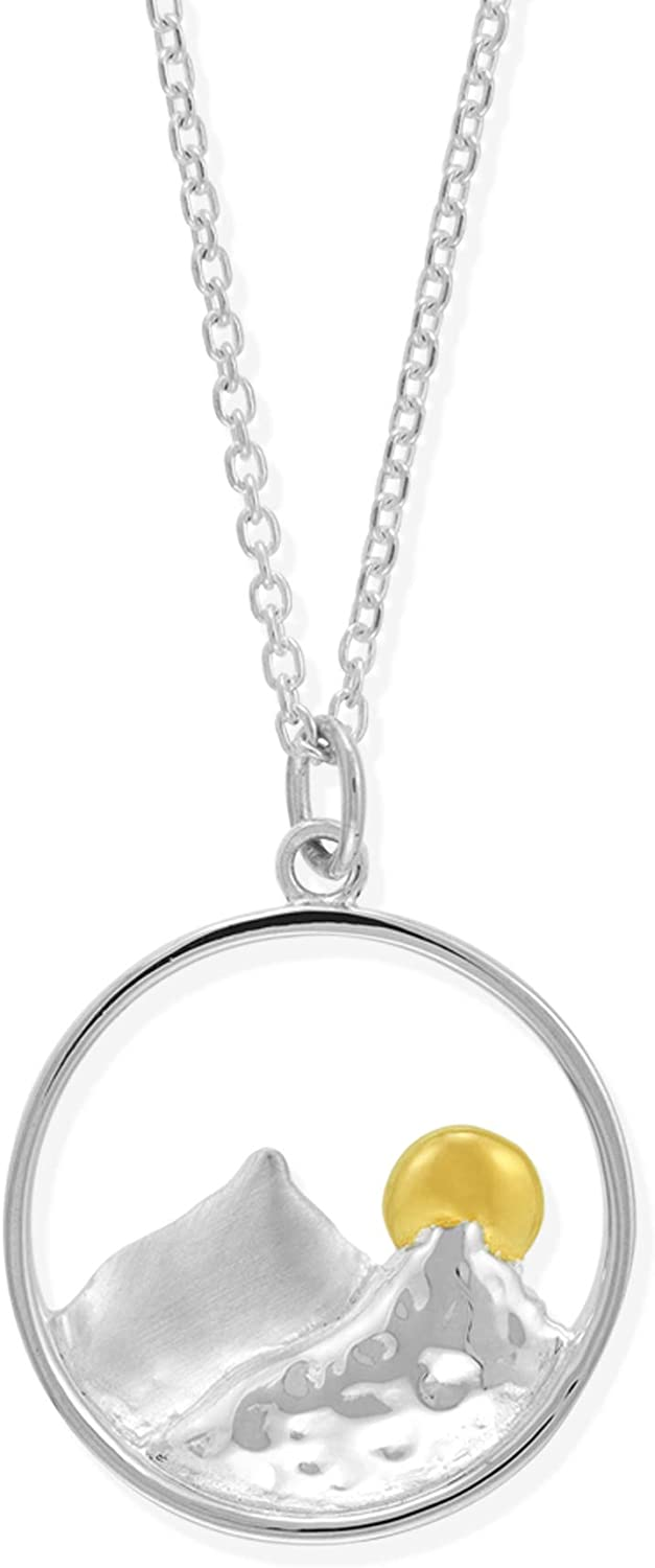 Boma Jewelry Sterling Silver Mountain Necklace with 14KT Gold Vermeil Sun Pendant Necklace, 18 Inches