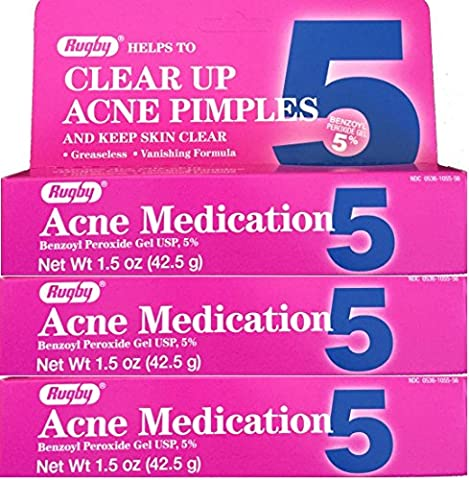 Benzoyl Peroxide 5 % Generic for Oxy Balance Acne Medication Gel 1.5 oz 3 PACK (Benzoyl Peroxide Face)