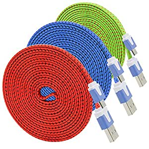 Besgoods 3PCS Nylon Fiber Fabric Jacket Micro USB Cable Cord - Extra Long (3Meter/10Feet) for all Smartphones and Tablets – (Red-Blue-Green)