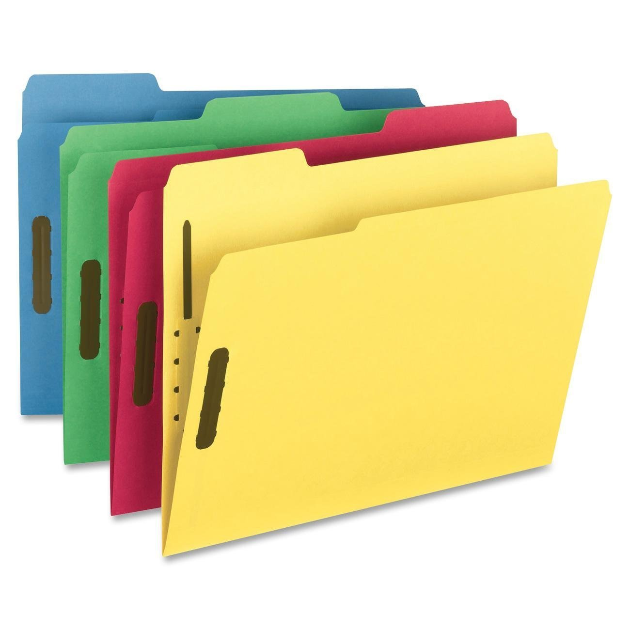 Smead Fastener File Folder, 2 Fasteners, Reinforced 1/3-Cut Tab, Letter Size, Assorted Colors, 50 per Box 2-Pack