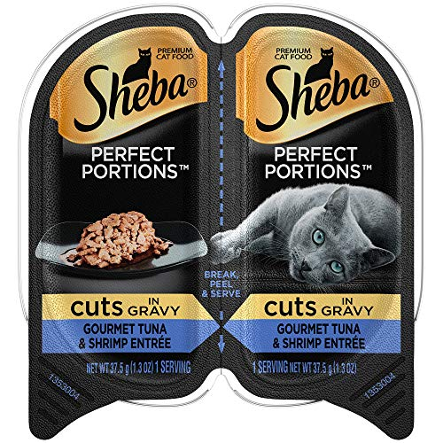 - Sheba Perfect Portions Wet Cat Food Cuts In Gravy Gourmet Tuna & Shrimp Entrée, (24) 2.6 Oz. Twin-Pack Trays