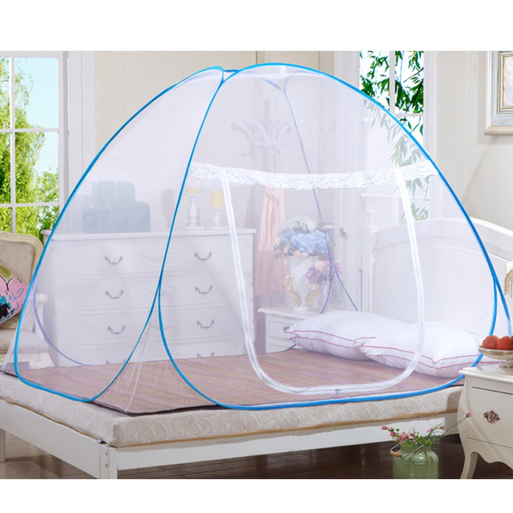 Mosquito Nets Popup Dome Tente dôme Design Yourte Mongol extérieur Montage libre net et rides réseaux pour adultes bébé et enfant insectes éviter Air Flow Pop Up Tente Rideaux R AZITEKE