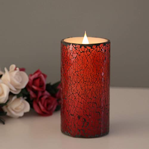 Mosaic LED Flameless Candle with Remote, 6×3 Cracked Glass Battery Operated Candle with 4 8H Timer and Realistic Flickering Dancing Flames, Powered by 2C Batteries NOT INCLUDED Over 300 Hours-Red