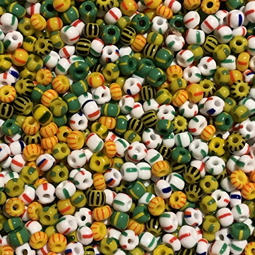 (Seed Beads 6/0 E Beads Czech Glass Striped Stripey Stripe Mix)