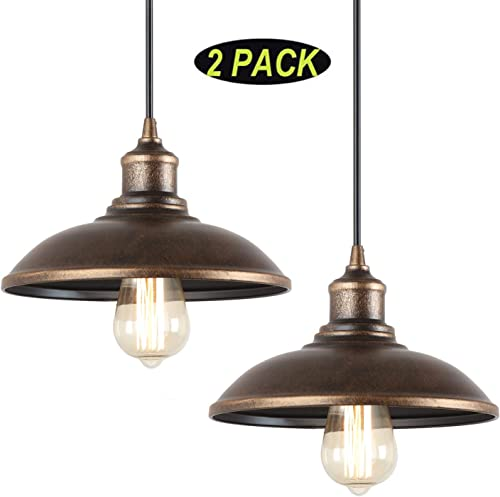 Giluta Rustic Pendant Light Industrial Barn Pendant Lighting, Vintage Style Kitchen Farmhouse Edison Hanging Ceiling Light Fixture 2 Pack Old Gold