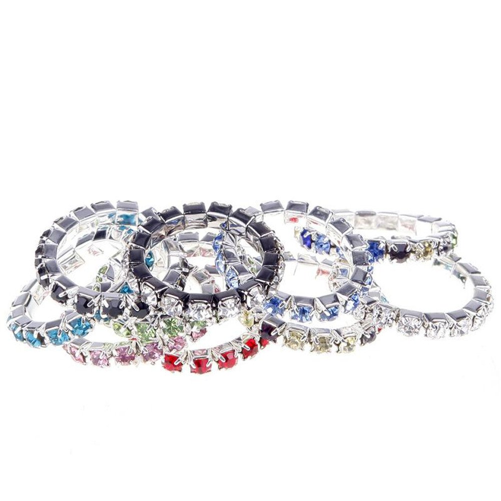 JaneDream 10 pcs Women's Ring Crystal Jewelry Rings simple design multi-color kTvUbK