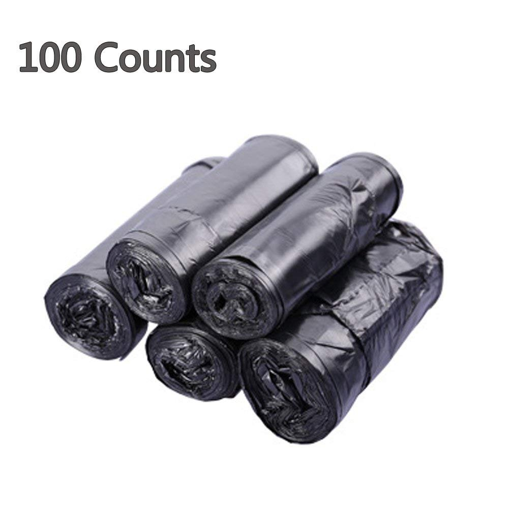 Trash bags, Twoworld 4 Gallon Medium Handle Kitchen Garbage Bags,15 Liters Durable Multipurpose Everyday Use Trash Liners for Bathroom, Bedroom, Home, Office Garbage Bins 100 Counts(Black)