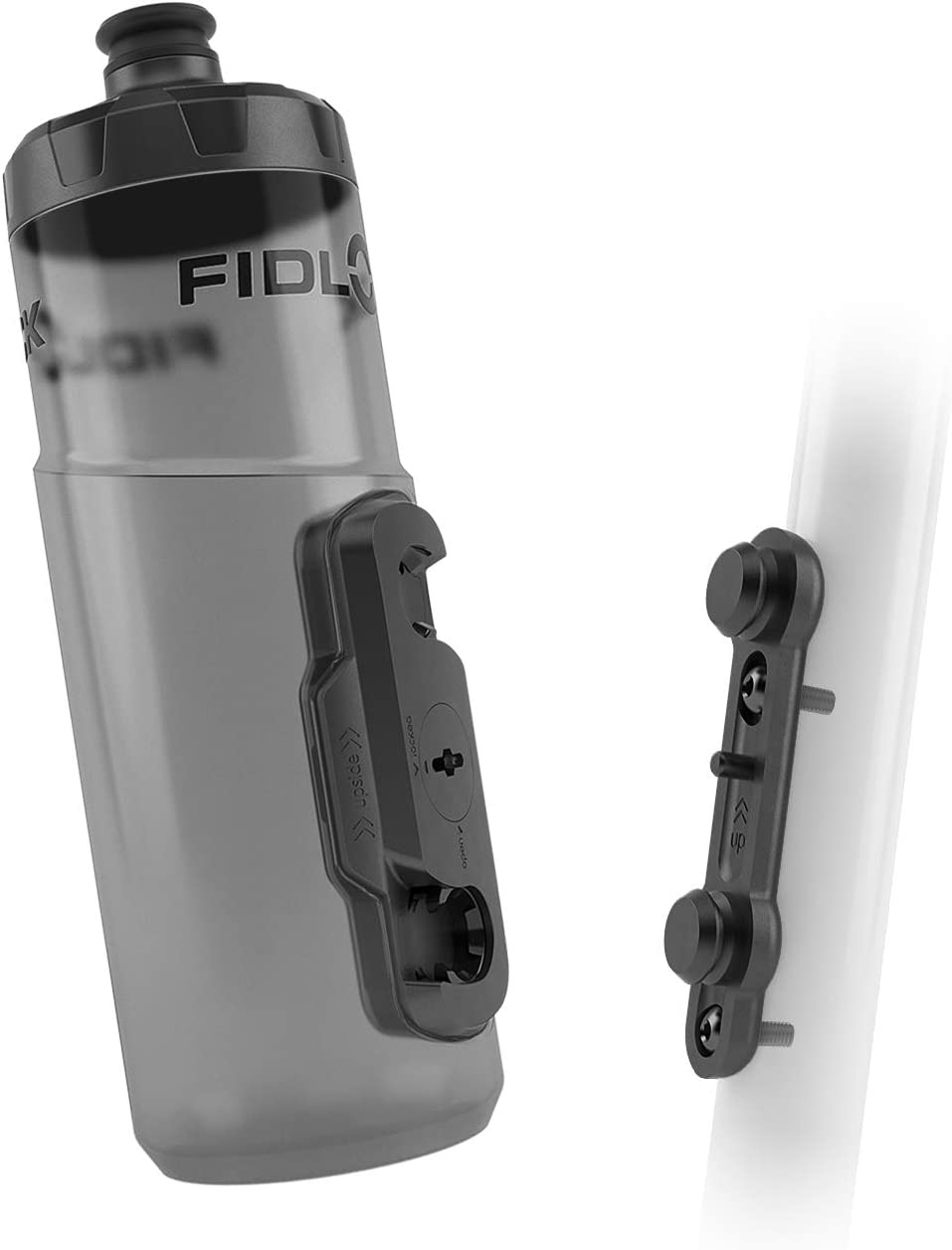 Fidlock TWIST Bottle 600 Set- Bike Water Bottle Holder with Attached Bottle - Cage Free Magnetic Mount - Smoke