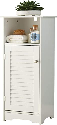 BrylaneHome Louvre Short Cabinet with Cubby, White