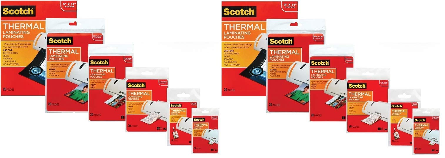 3M Laminating Pouch Kit with All Varieties of Laminating Pouches (2 Packs of Each Size)