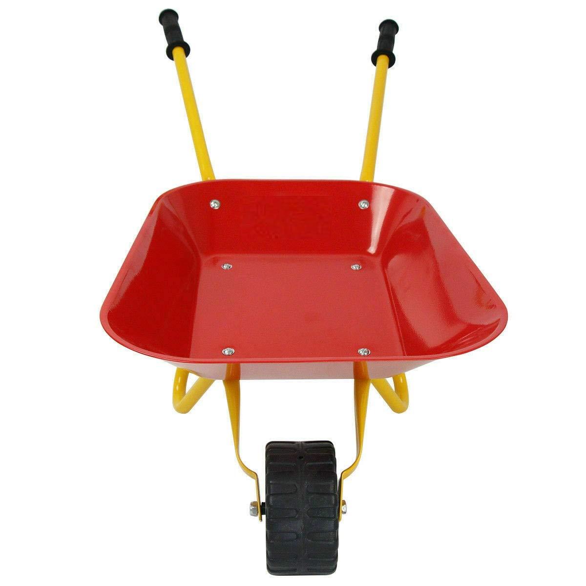 Heize best price Red Kids Metal Wheelbarrow Children's Size Outdoor Garden Backyard Play Toy by Heize best price (Image #6)