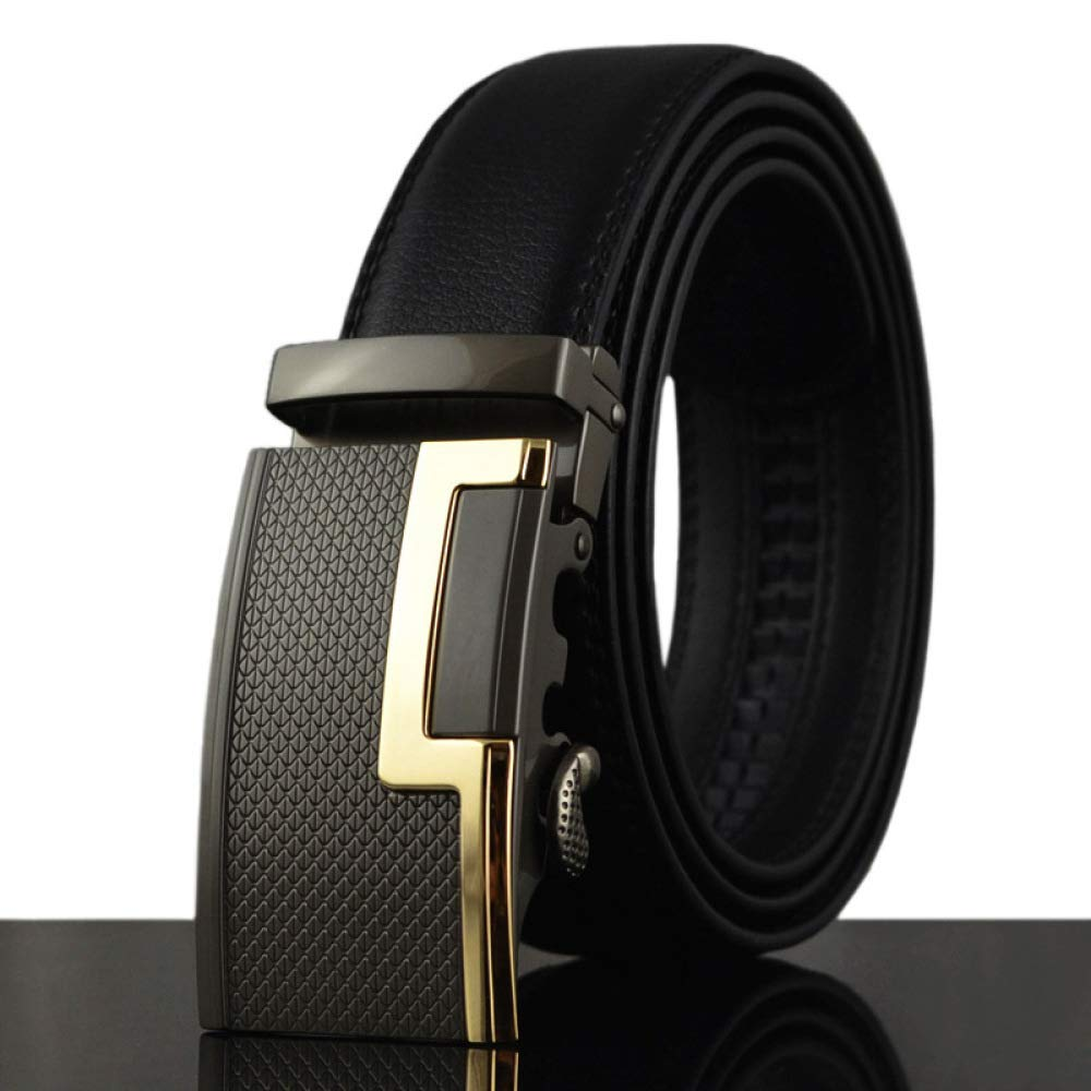 DENGDAI Stainless Steel Belt Casual Belt Mens Belt Leather Belt Length 100-135cm