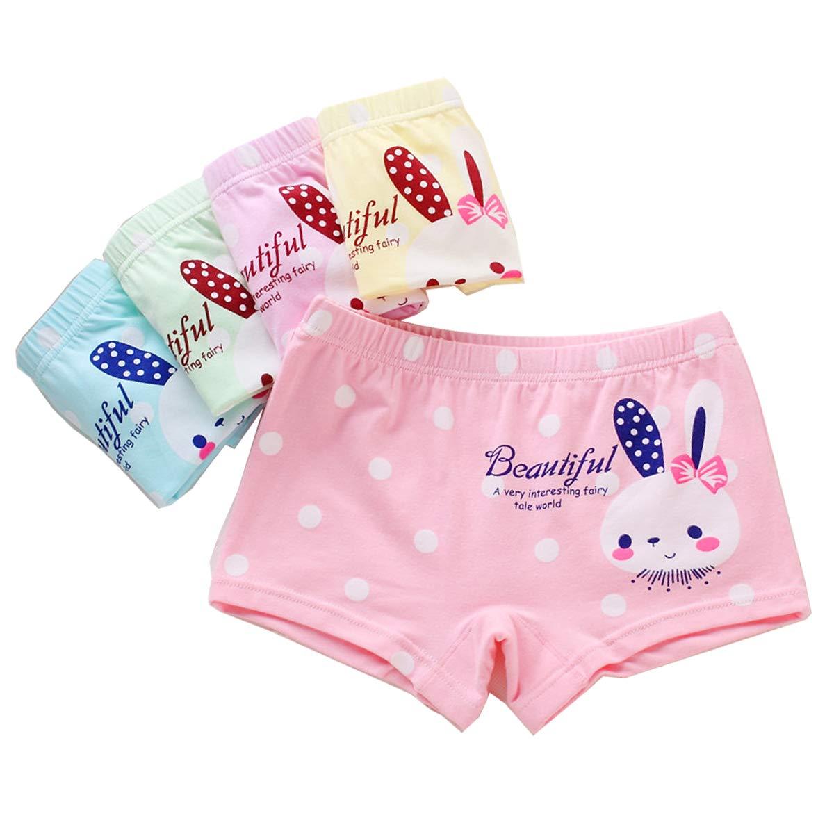 SYROSA Girl's Knickers Cotton Cute Rabbit 5 Pack Boyshort Polka Dot Underwear Size 1-9 Years