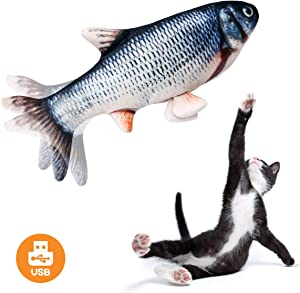 Beewarm Realistic Plush Simulation Electric Doll Fish, Funny Interactive Pets Chew Bite Supplies for Cat Kitty Kitten Fish Flop Cat Toy Catnip Toys - Perfect for Biting, Chewing and Kicking