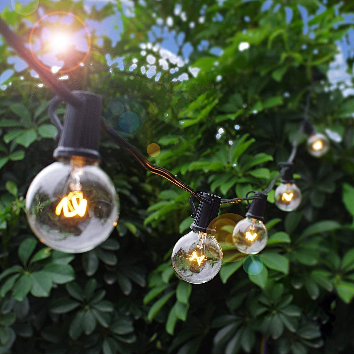 2200K Warm White Connectable Hanging Patio Lights IP44 Waterproof Backyard Lights with E12 Socket 50Ft G40 Outdoor String Lights with 28 Pcs 5W Clear Bulbs Yuusei Globe String Lights 3 Spare