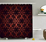 Ambesonne Victorian Shower Curtain by, Medieval Ancient Flowers with Leaves Ombre Design Image Artwork Print, Fabric Bathroom Decor Set with Hooks, 70 Inches, Salmon Plum Black
