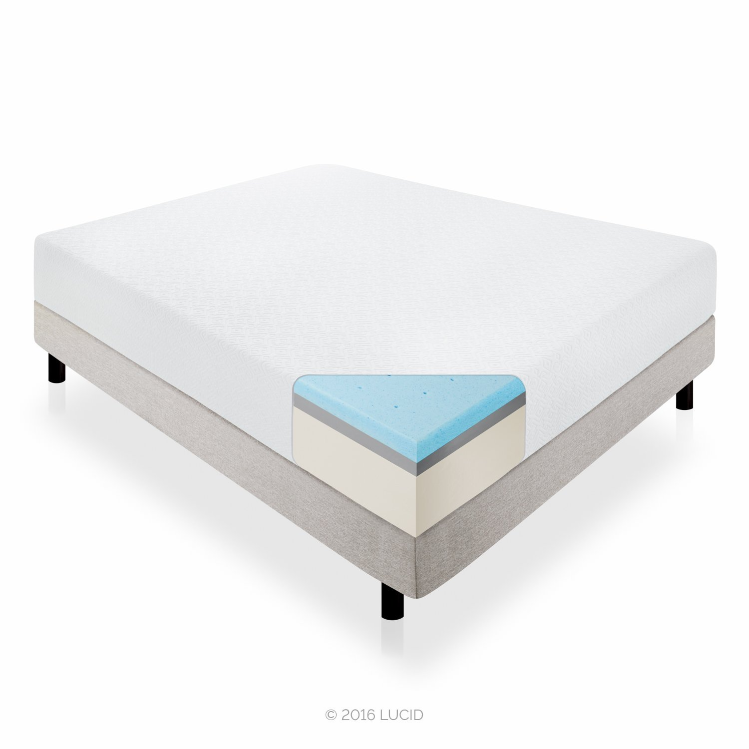 Lucid 14-Inch Cashmere Covered Memory Foam Mattress