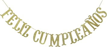 Amazon.com: Feliz Cumpleaños - Pancarta de oro con purpurina ...