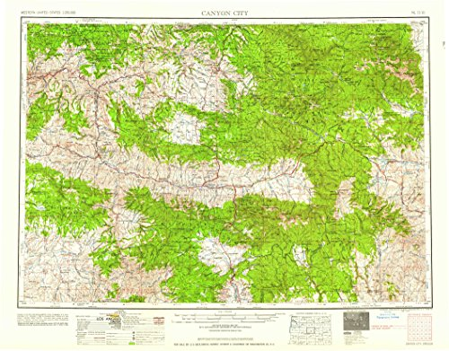 YellowMaps Canyon City OR topo map, 1:250000 Scale, 1 X 2 Degree, Historical, 1959, Updated 1959, 22.1 x 28.2 in - Tyvek