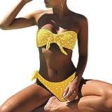 Conjunto de Bikini Estampado con Lunares para Mujer, LILICAT® Traje de Baño Push-Up Acolchado Atractivo con Relleno Bikini Palabra de Honor🍀Ropa Traje de Baño Dos Piezas con Lazo de Playa Arena de Verano Swimwear Mujer