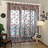 LQF Window Treatments Floral Sheer Curtains Voile Tulle Decor Curtain Drapes Grommet Process Sheer Scarf Valances for Living Room , 1 Panel , W75 x L96 inch
