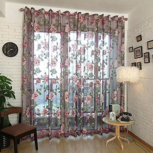 LQF Window Treatments Floral Sheer Curtains Voile Tulle Decor Curtain Drapes Grommet Process Sheer Scarf Valances