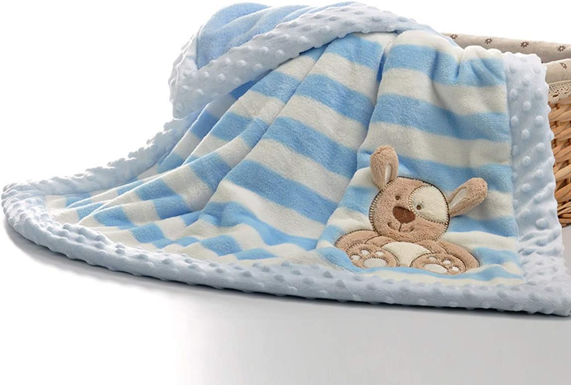 doble capa Yumu casa azul Franela dise/ño de dibujos animados para reci/én nacidos Manta de franela gruesa para beb/é suave 75*100cm//29.5*39.4 inch