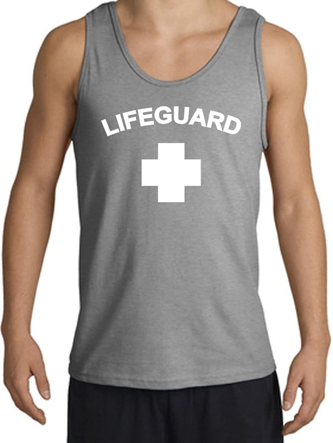 Lifeguard Tank   Adult Sleeveless Shirt Tanktop   Sports Grey by A&E Designs