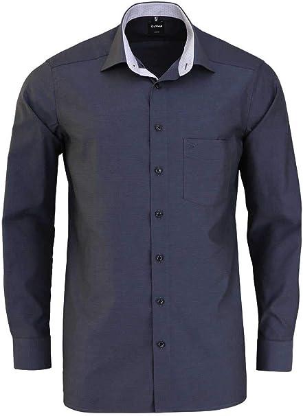 OLYMP Camisa Luxor Modern Fit extralarga de 69 cm, color negro estructurado