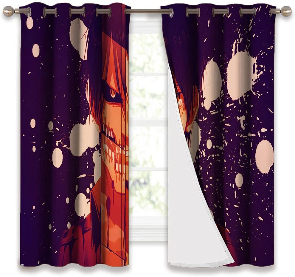 STTYE Blackout Curtains for Bedroom Anime Att-ack on Ti-tan Curtains Home Decor Window Curtains Energy Efficient Grommet Curtain Panel for Bedroom 42x72 Inch