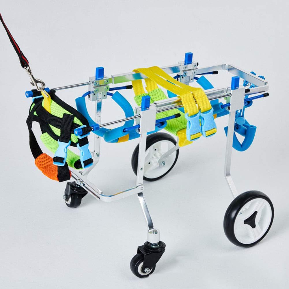 ELEAMO Hind Legs Rehabilitation 4 Wheels Adjustable Dog Wheelchair Cart for Pet Rehabilitation Lightweight Easy Assemble Wheelchair for Doggie Back Legs,XS by ELEAMO