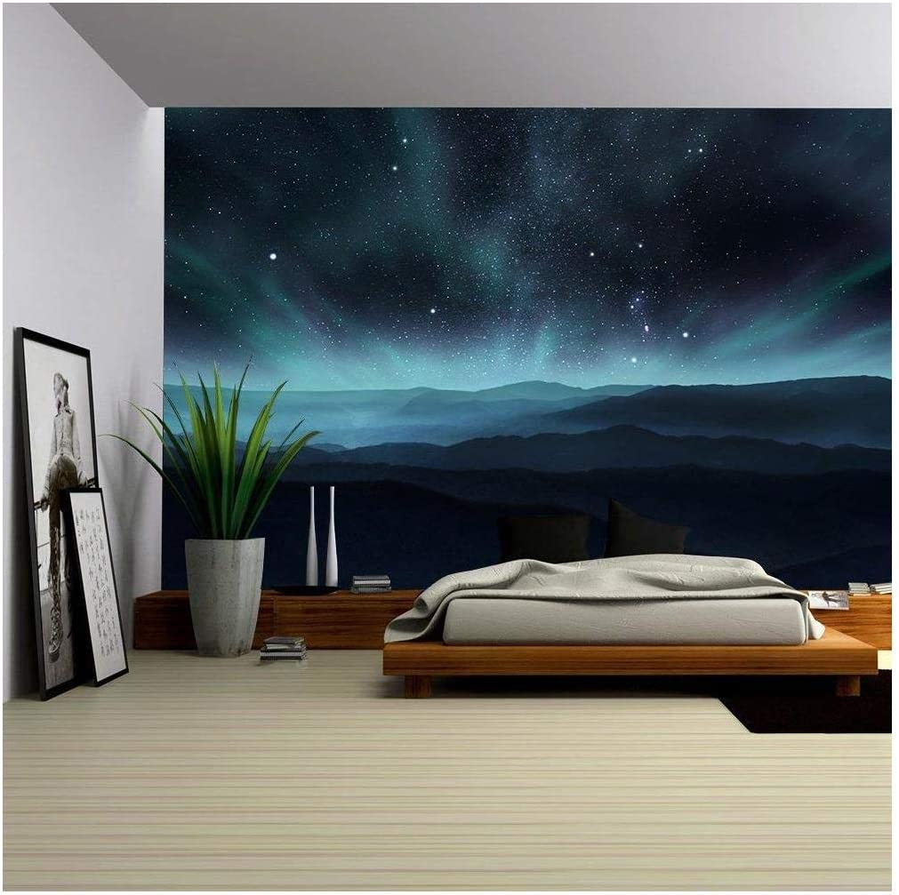 Amazon Com Wall26 Starry Night Sky With Aurora Over The Hills