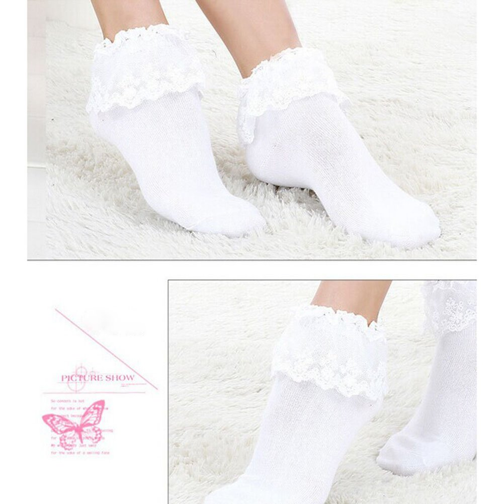 Multicolor Pixnor Women Vintage Lace Cotton Ruffle Frilly Ankle Crew Socks 5 Pack One Size
