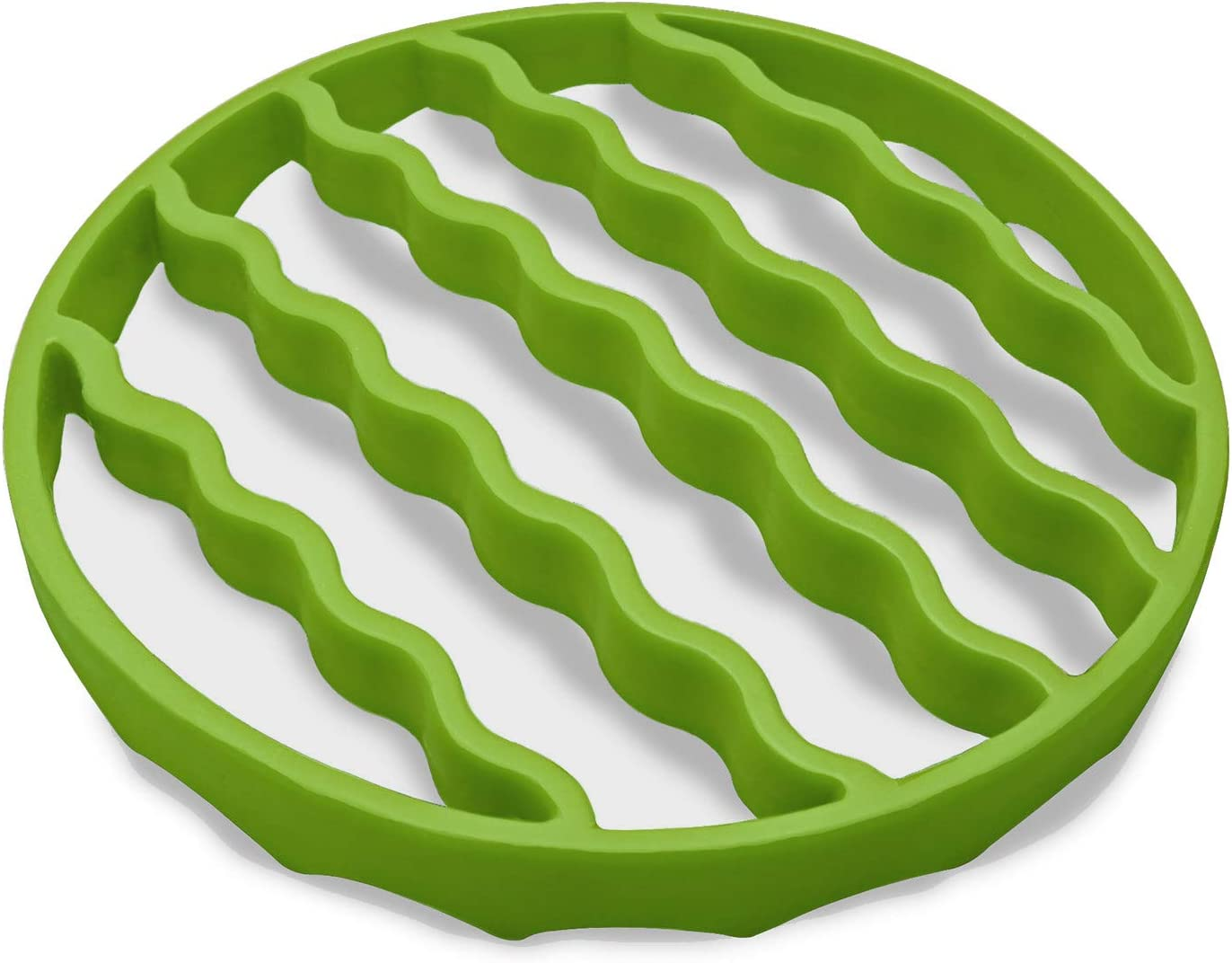 Steamer Roaster Rack, Silicone Roasting Rack for Baking Canning Cooking Steaming, Pressure Cooker Rack Accessories Compatible with 6-quart 8-quart cookers (Round, Green)
