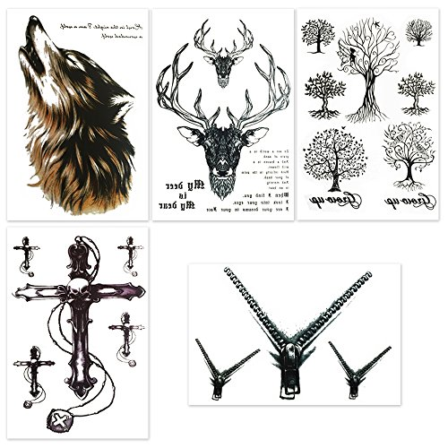 Hakuna 5 Sheets Temporary Tattoos, Wolf/ Deer/ Life Tree/ Cross/ Zipper Fake Tattoo Stickers