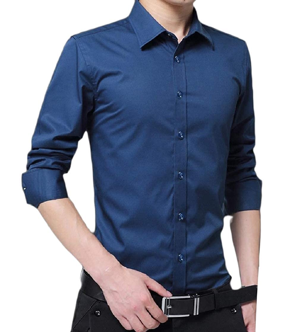 YUNY Mens Business Long-Sleeve Button Slim Fit Blouses and Tops Shirts Blue 2XL