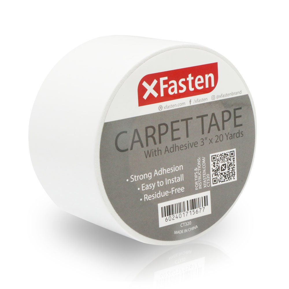 XFasten Double Sided Carpet Tape, Removable, 3 Inches x 20 Yards
