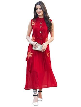 274510dde Peachmode Women s Ravishing Red Partywear Embroidered Georgette Kurti-S