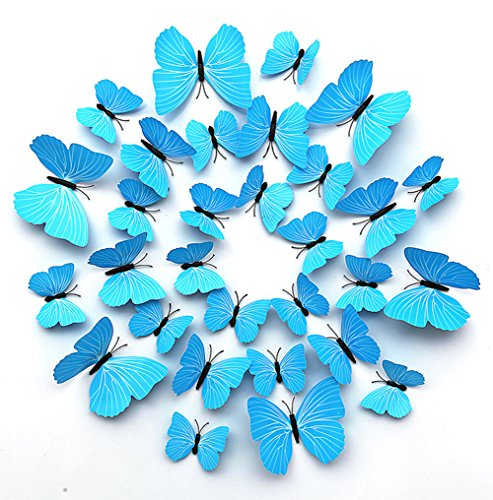 FLY SPRAY 24 Pcs 3D Artificial Solid Blue Butterfly Removable Mural Wall Stickers Wall Decal For Home Decor Nursery Decoration