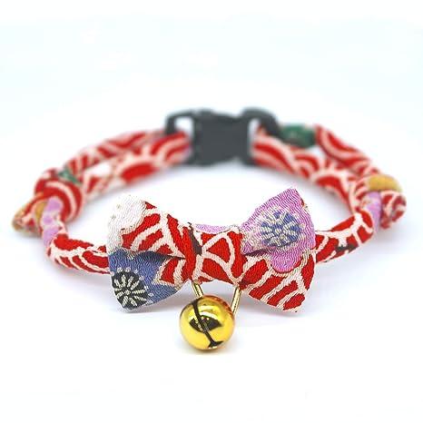 PetSoKoo - Collar para Gato con Tela de chirimen Japonesa y Campana de trébol