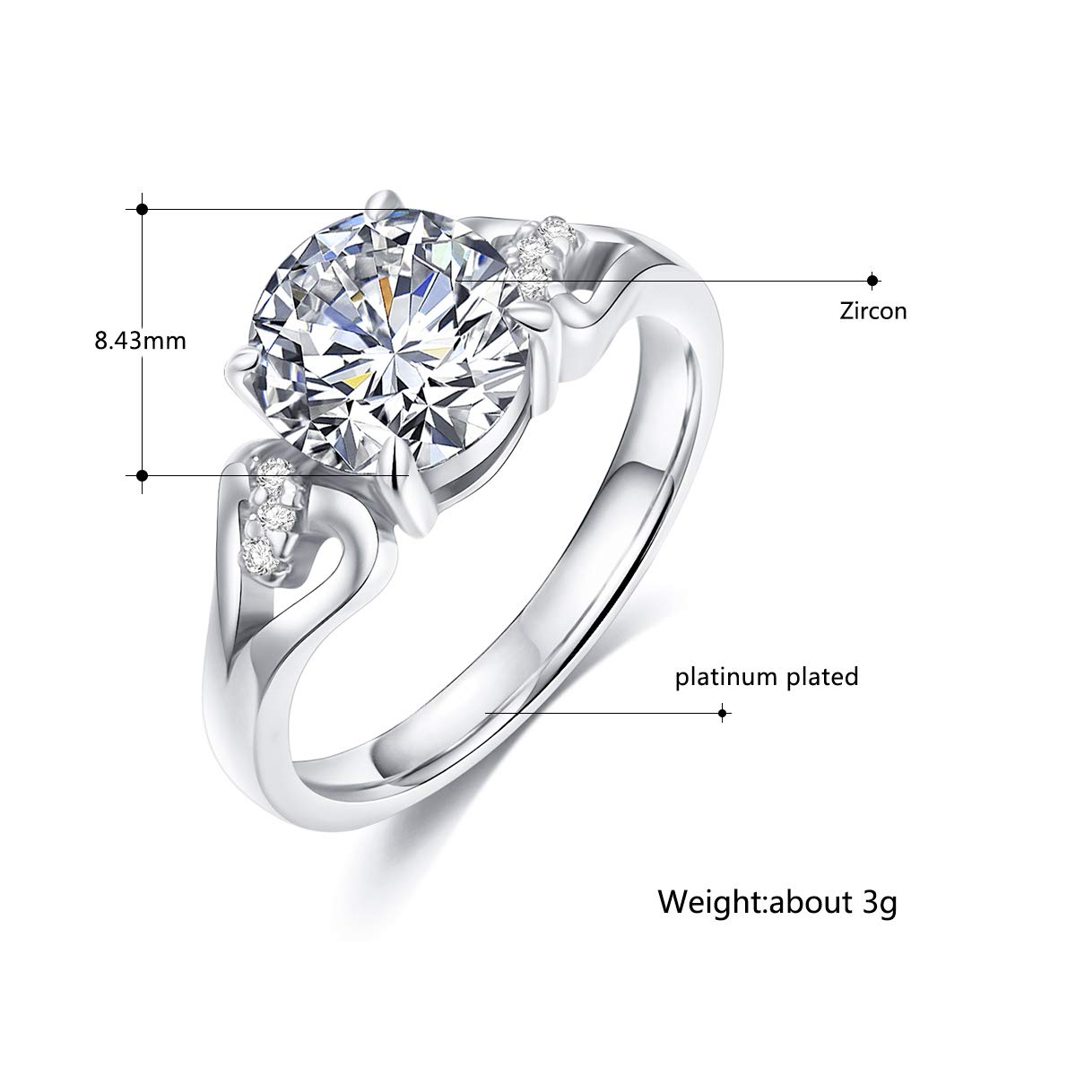 Round Cut Aaa Cubic Zirconia Sterling Silverrose Goldplated Bronze Base Engagement Ring Wedding Rings For Women Life Time Warranty Color Changed: Silver Rose Ring Wedding At Websimilar.org