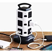 Power Strip Tower 2500W 10A,10 Outlet Plugs with 2 USB Slots + 2M Cord Wire Extension Universal Socket for PC Laptops…